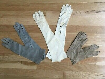 3 Pairs of Ladies / Kids Gloves Leather Size 6.5 Antique / Vintage Dress Costume