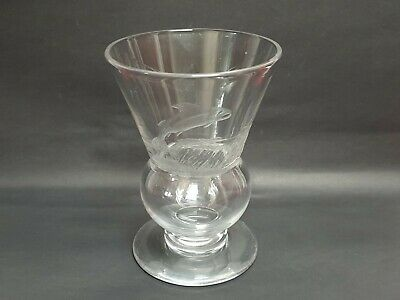 Large Scottish Thistle-shaped Glass Posy Vase With Trout Etched