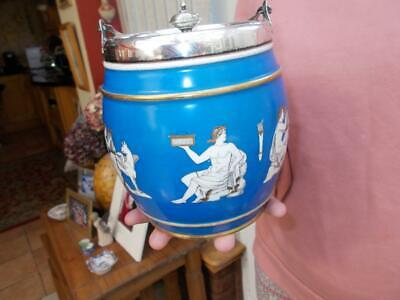 Antique Greek Etruscan Silver Plated Ceramic Biscuit Barrel Greco Roman Images