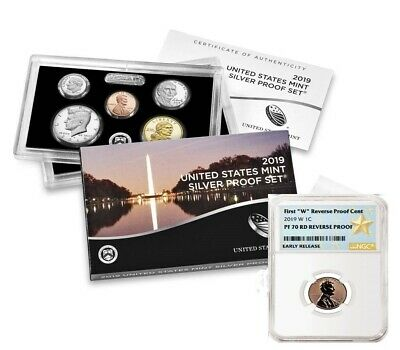"2019 SILVER PROOF SET w/ ""W"" REVERSE PF LINCOLN CENT, NGC PF70RD ER (STAR LABEL)"