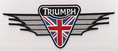 Triumph Motorcycles metallic silver wing patch. 10 inch. NEW NICE