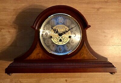 Stunning Franz Hermle Mantel Clock Cherry OAK Finish Tambour & Key AMELIA