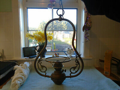 Large Antique Brass Hanging Lamp / Lantern With Glass Funnel and Shade