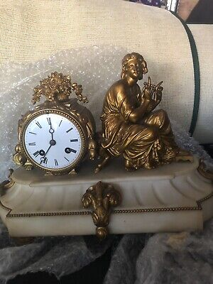 Good Vintage Ornate Brass Clock.