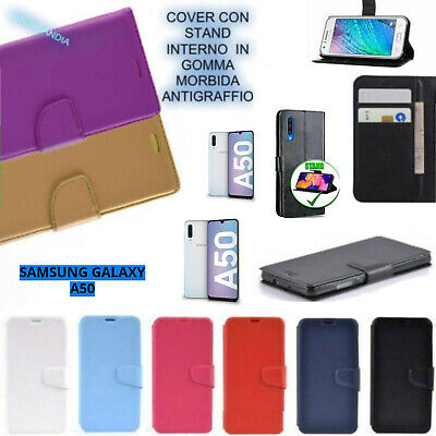 PER SAMSUNG GALAXY A50 (A505) cover A LIBRO CON 3 PORTA CARD in eco pelle WALLET