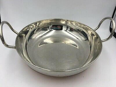 """Indian Copper Bottom Serving Bowl Stainless Steel 8"""" Across Generous Handles"""