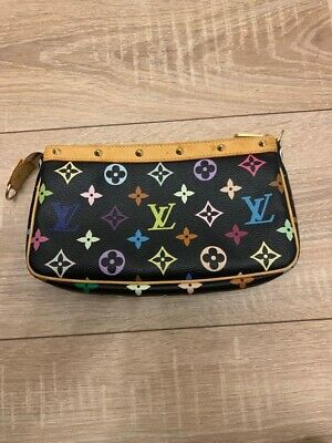 929308c601b14 Pochette Clutch Louis Vuitton Monogram Multicolor Black schwarz Abendtasche