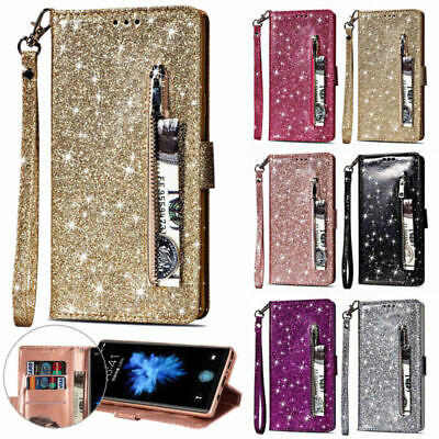 Bling Glitter Leather Zipper Wallet Case Cover For Samsung J4 J6 A5 A6 + 2018