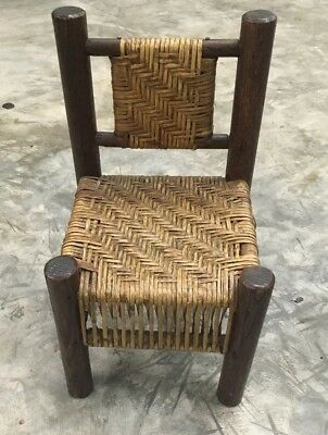 Antique Primitive Hickory Child's Handmade Folk Art Chair Early 19th Cent Cane