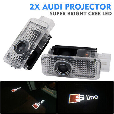 2x Car Door Light Fit Audi Cree LED Projector Puddle Courtesy LOGO Entry Light