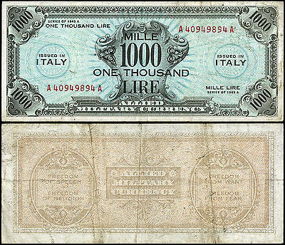 Occupazione Americana 1000 AM-Lire 1943 serie 1943 A, bilingue, BB