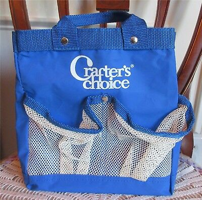 Craft Tote CRAFTER'S CHOICE Blue With Front Pockets Double Handles Spotless