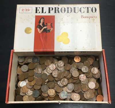 7+ Lbs. Lot Wheat Pennies & Indian Cents Cigar Box Collection 1909
