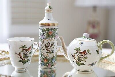 🦋Beautiful Herend Rothschild Bird Small/individual Teapot-Video On youtube🐞NR