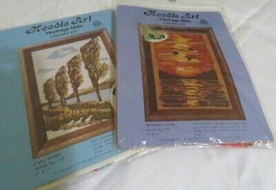 1970'S NEEDLE ART BY HERITAGE MILLS CREWEL KIT x 2 HEADING SOUTH & FALL WINDS