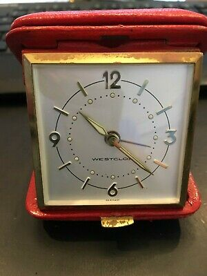 VTG Wextclox Travel Alarm Clock Made in Germany, Red Leather Case