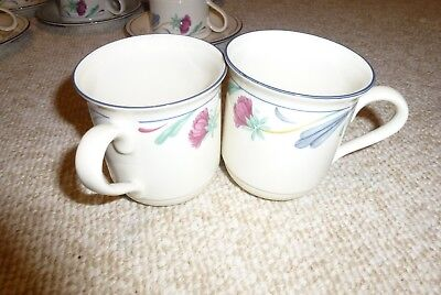 "Lenox Chinastone Poppies On Blue Coffee Mugs - Lot of 2 - 3 3/4"" Nice"