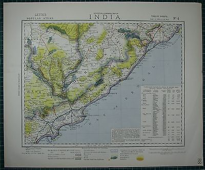 1883 Letts Map ~ India Eastern ~ Hydrabad Bay Of Bengal Orissa Busta