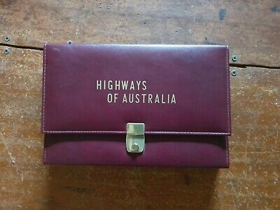 Map case with plastic folders compartments inside, Highways of Australia.