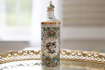 🦋Beautiful Herend Rothschild Bird Perfume Bottle With Stopper-Video On YouTube