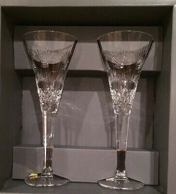 Waterford Crystal Millennium Collection 2 Champagne Flutes PROSPERITY Pattern