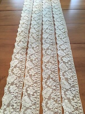 Antique Handmade Floral Cream Lace - 2 Pieces - Approx. 18.5 feet by 4 inches