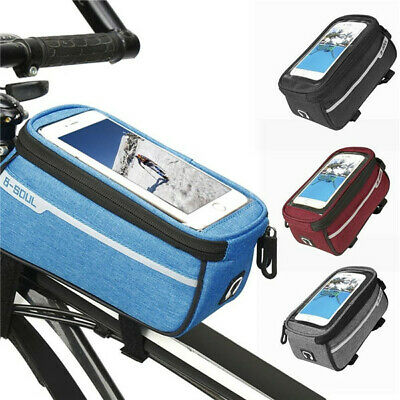 1pc Waterproof Bicycle Frame Front Tube Bag Touch Screen Organizer Pocket Pouch
