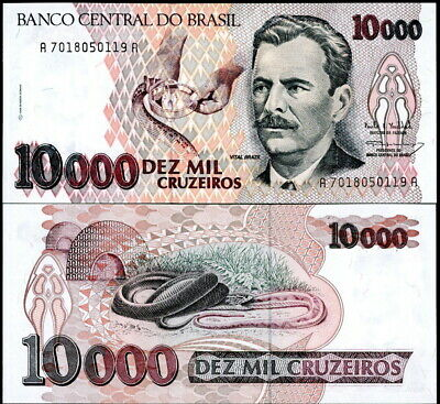BRAZIL P-233c 10,000 CRUZEIROS (1992) SNAKES WORLD PAPER MONEY CURRENCY UNC!