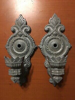 Vtg Circa 1920s Pair Art Deco Spelter Wall Sconce Light Fixtures Unwired AS IS
