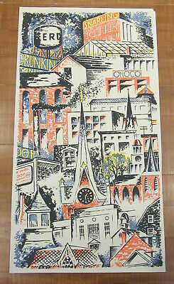 Fred Rosebury - Mid Century Color Serigraph - Cityscape - Listed MA Modernist