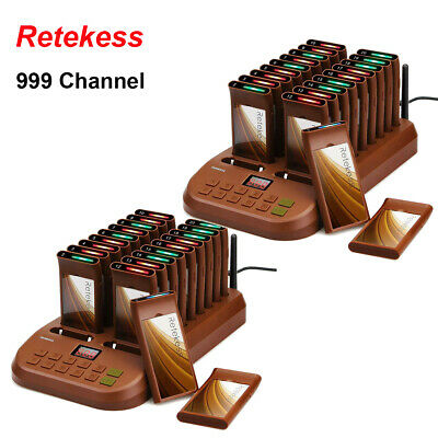 Retekess restaurant 999CH Call wireless paging system 2*transmitter and 40*Pager