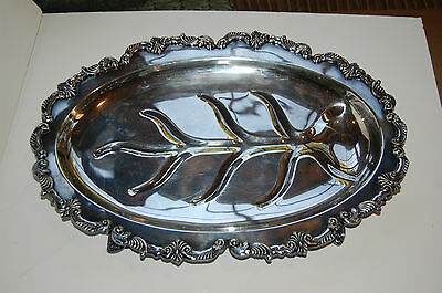 Sheridan Silver Tray Meat Tray Footed Gadroon Feathers Rococo Silver on Copper