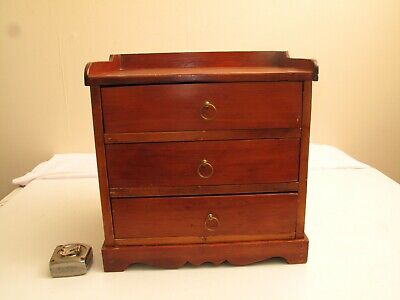 Antique Childs Dresser Jewelry Box Cherry 19Th C Primitive Chippendale Dovetails