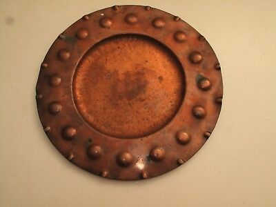 Antique Vtg Arts & Crafts Hammered Copper Tray  Mission Roycroft ? Initial W