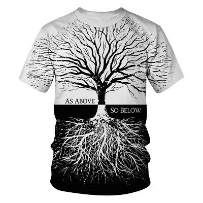 T Shirt Men Women Black White Tree 3D Print Tee Short Sleeve Hipster Casual Tops