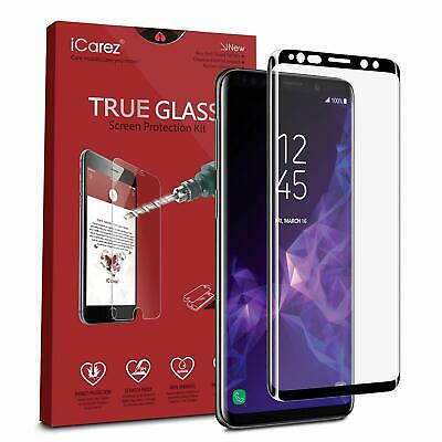 Galaxy S9 Plus/S9 Screen Protector, Genuine iCarez 3D Curved 9H Tempered Glass