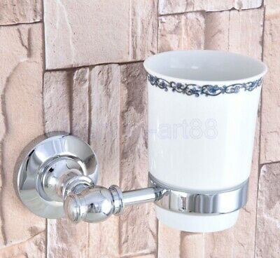 Polished Chrome Single Tumbler Holder Toothbrush Cup Bathroom Accessory fba789