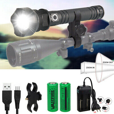 Powerful XHP70.2 LED Flashlight Zoomable Convex lens LED Torch USB Rechargeable
