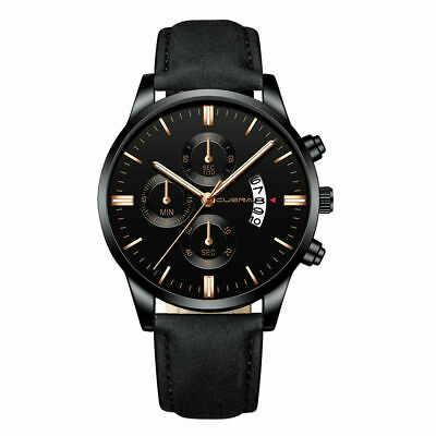 Men's Military Leather Date Quartz Analog Army Casual Dress Wrist Watches 2019