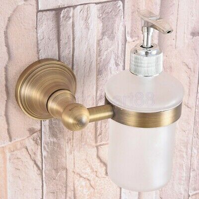 Antique Brass Soap Dispenser Bathroom Kitchen Sink Liquid Pump Bottle fba169