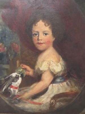 1820 Superb Georgian Portrait Of Young Girl And Rabbit - English School