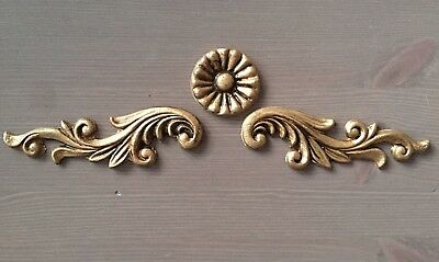 Set Of Antique Gold Furniture Drawer Scroll Round Applique Moulding Shabby  Chic