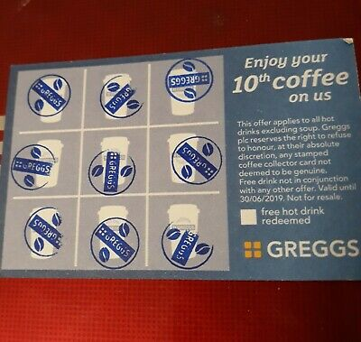 ☆GREGGS☆ 10 full cards dated until 2022 £5