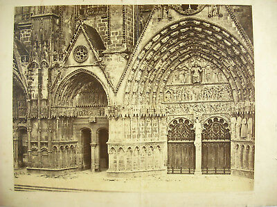 Great Photography Portal the Cathedral of Bourges C1860 55cm Bisson Frères