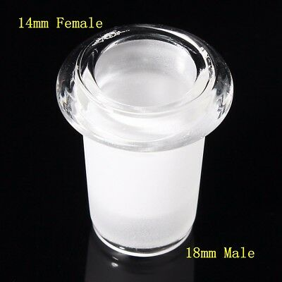 14mm Female to 18mm Male Expander Reducer Adapter Connector Clear Glass Lab Tool
