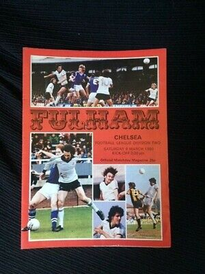 Fulham V Chelsea Programme, League Division 2, 8th March 1980