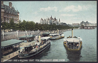 London. Scotland Yard & Whitehall Court from Westminster Bridge. Early Postcard