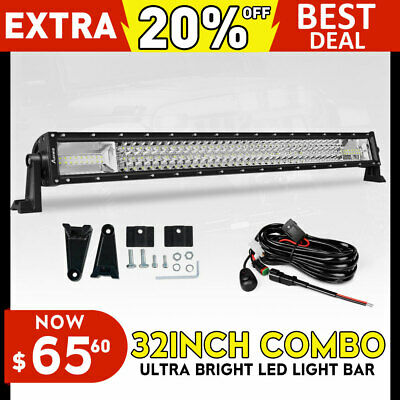 """32inch CREE LED Work Light Bar Flood Spot Offroad UTE 4WD SUV 28/31/36""""+DT WIRE"""
