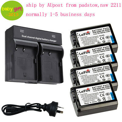 4pcs NP-FW50 Li-Ion Battery With LED Charger For Sony Alpha A5000 ILCE-5000 AU