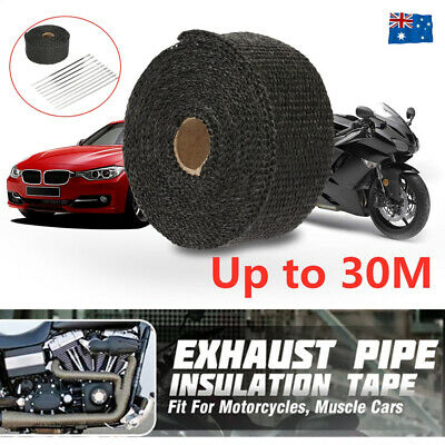 30M 2000F Black Exhaust Heat Wrap 50Mm Stainless Steel Ties Shield Tape Au 2X